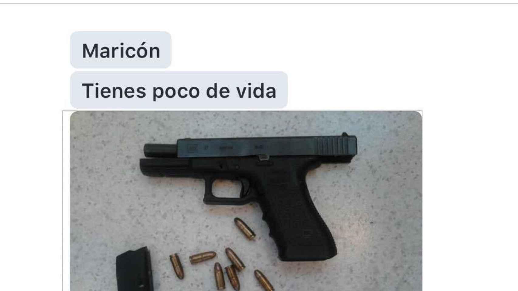 Captura de pantalla de Jesús Tomillero donde lo amenazan.