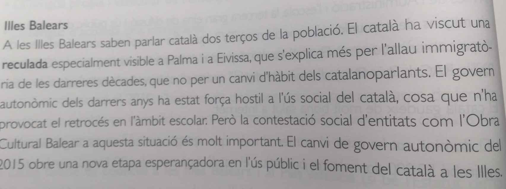 Extracto del libro de texto de Lengua y Literatura catalana.