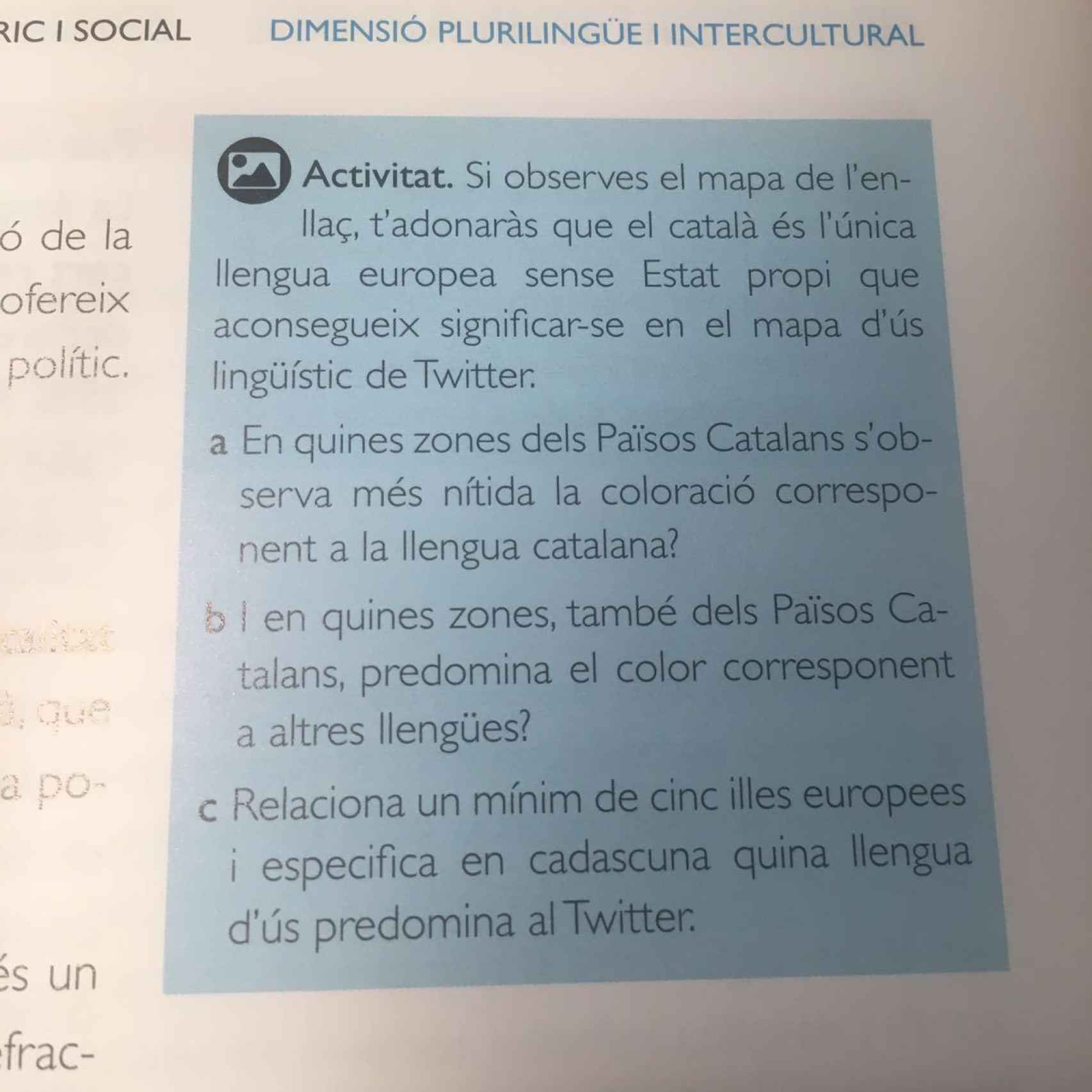 Una de las actividades que se proponen en el libro de texto.