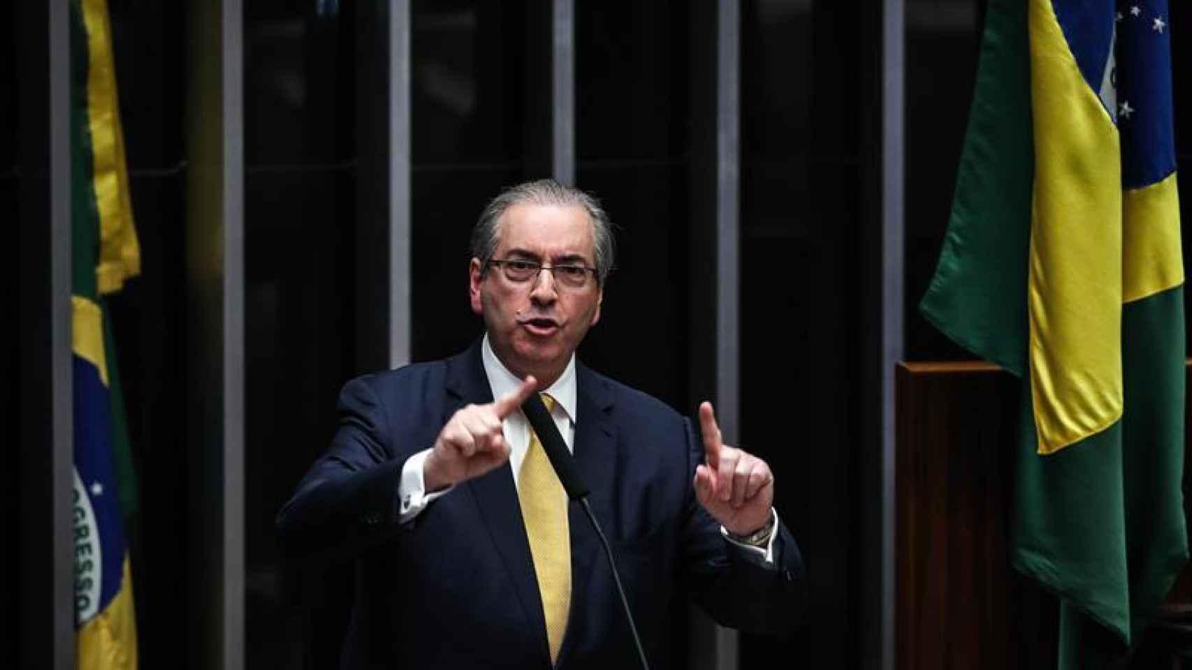 Eduardo Cunha se defiende antes de la votación que le retiró el escaño.