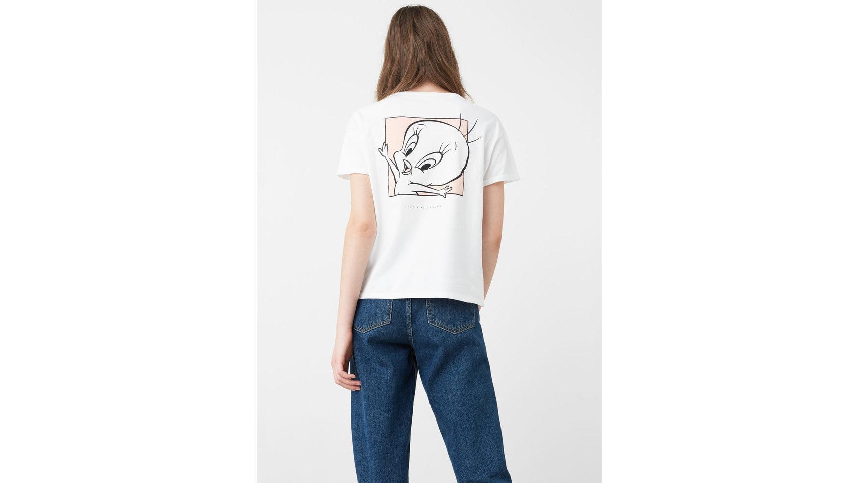 Camiseta blanca con Piolín a la espalda de Mango.