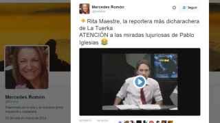 El tuit de Mercedes Romón.