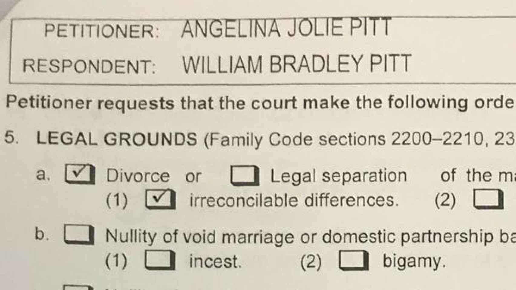 La demanda de divorcio impuesta por Angelina Jolie contra Brad Pitt.