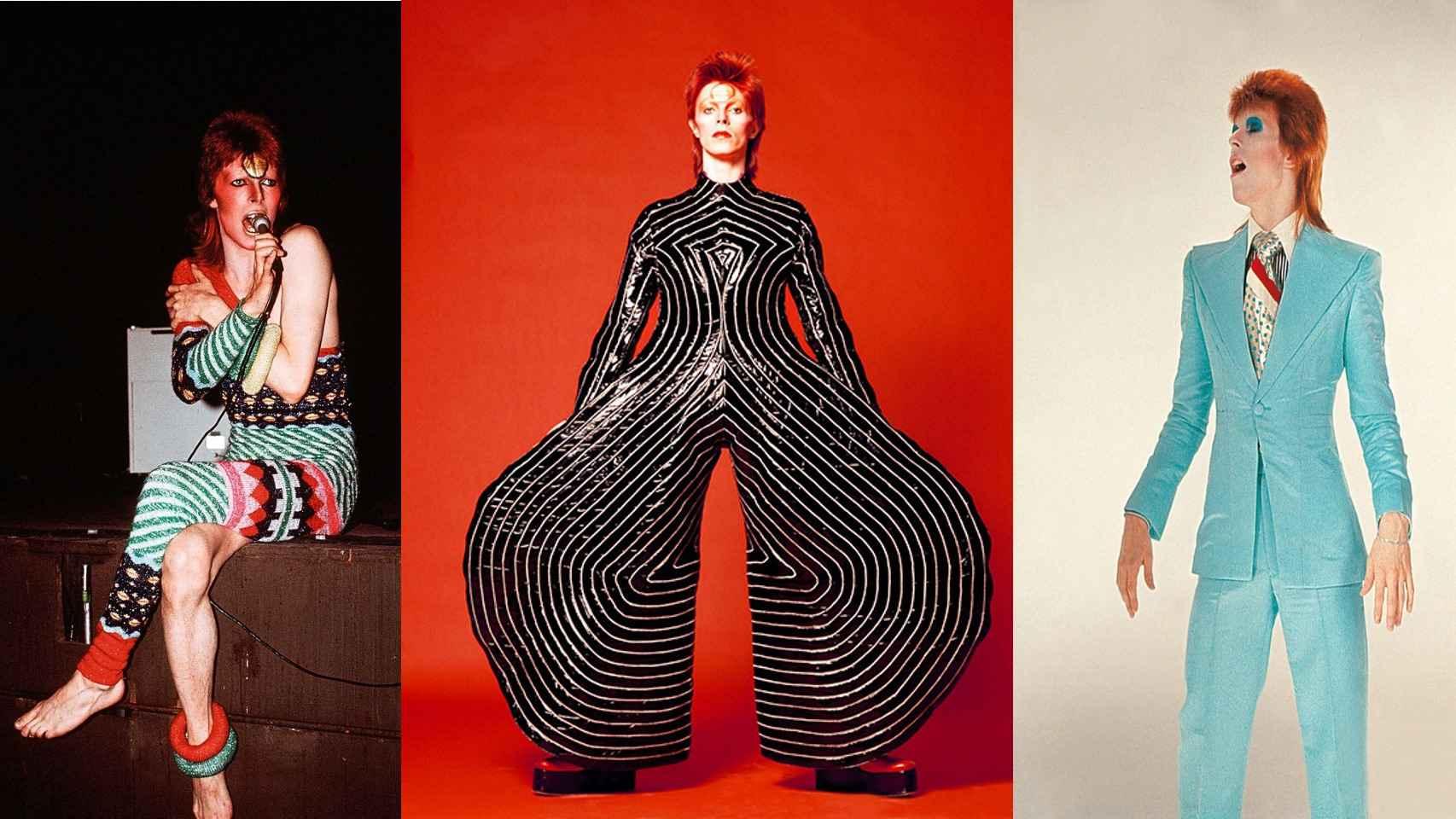 Algunos de los trajes que llevan las modelos en el momento del homenaje a David Bowie la gala CFDA.