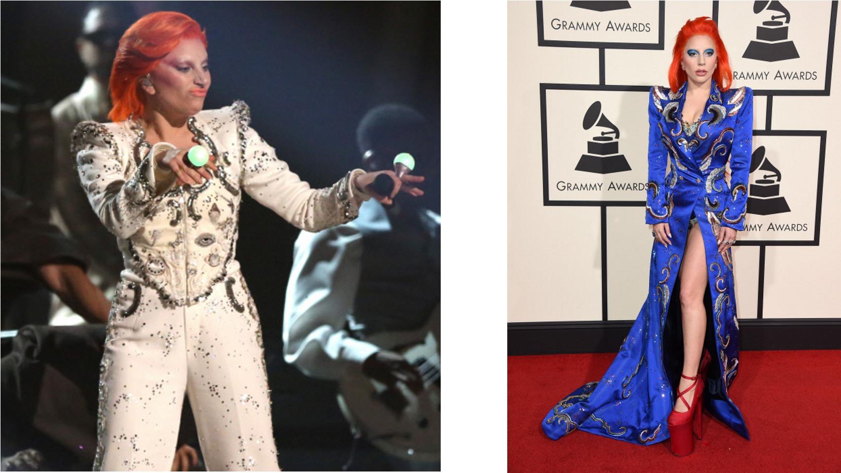 Lady Gaga homenajea a David Bowie con esta vestimenta para los premio Grammy 2016.