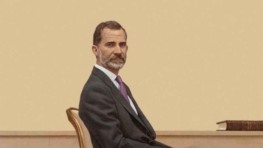 El retrato del rey realizado por Hernán Cortés, que cuelga del Tribunal Constitucional.