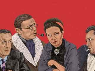 En la ilustración, Merleau Ponty, Sartre, Beauvoir y Camus.