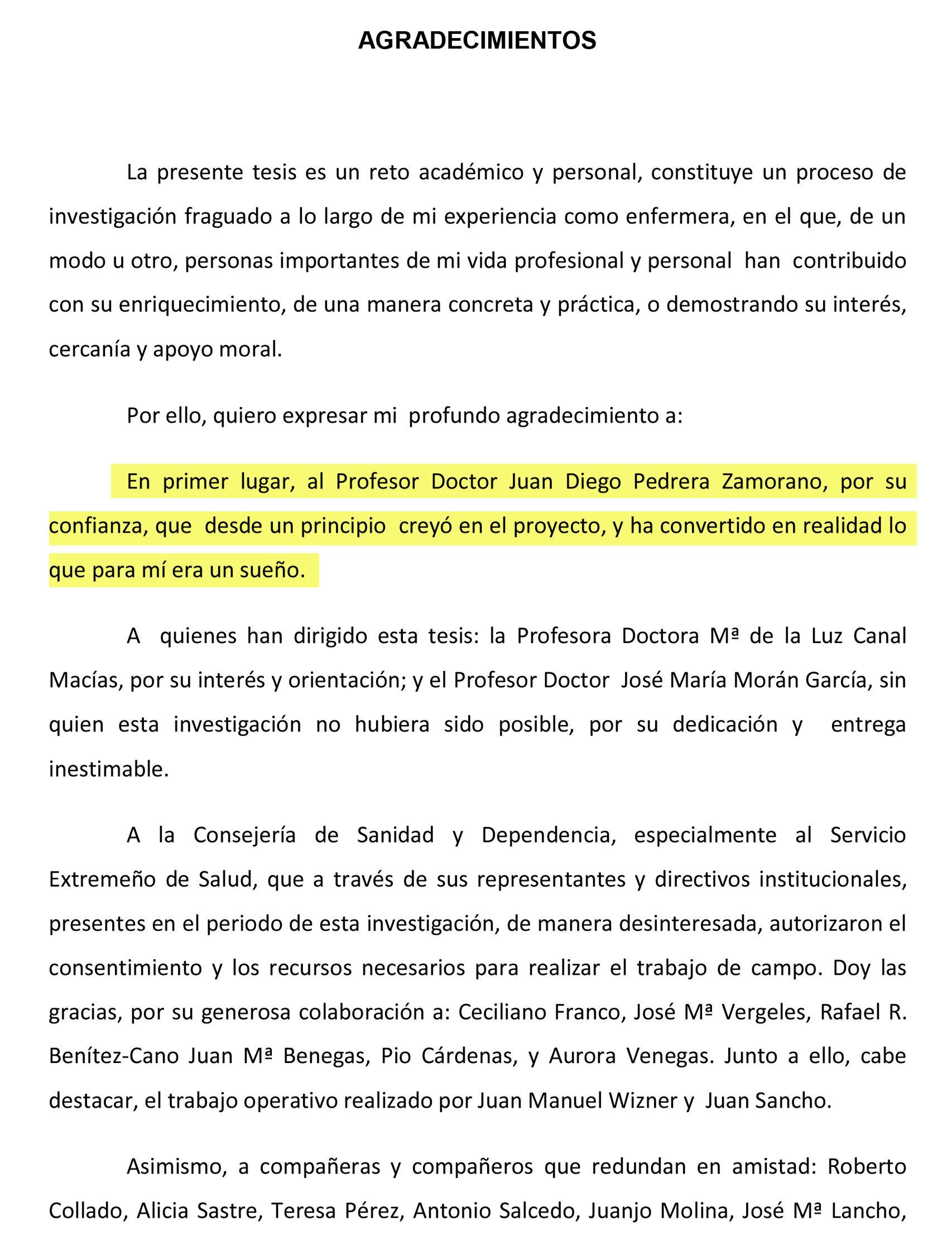 Agradecimientos en la tesis de Raquel Rodríguez Llanos