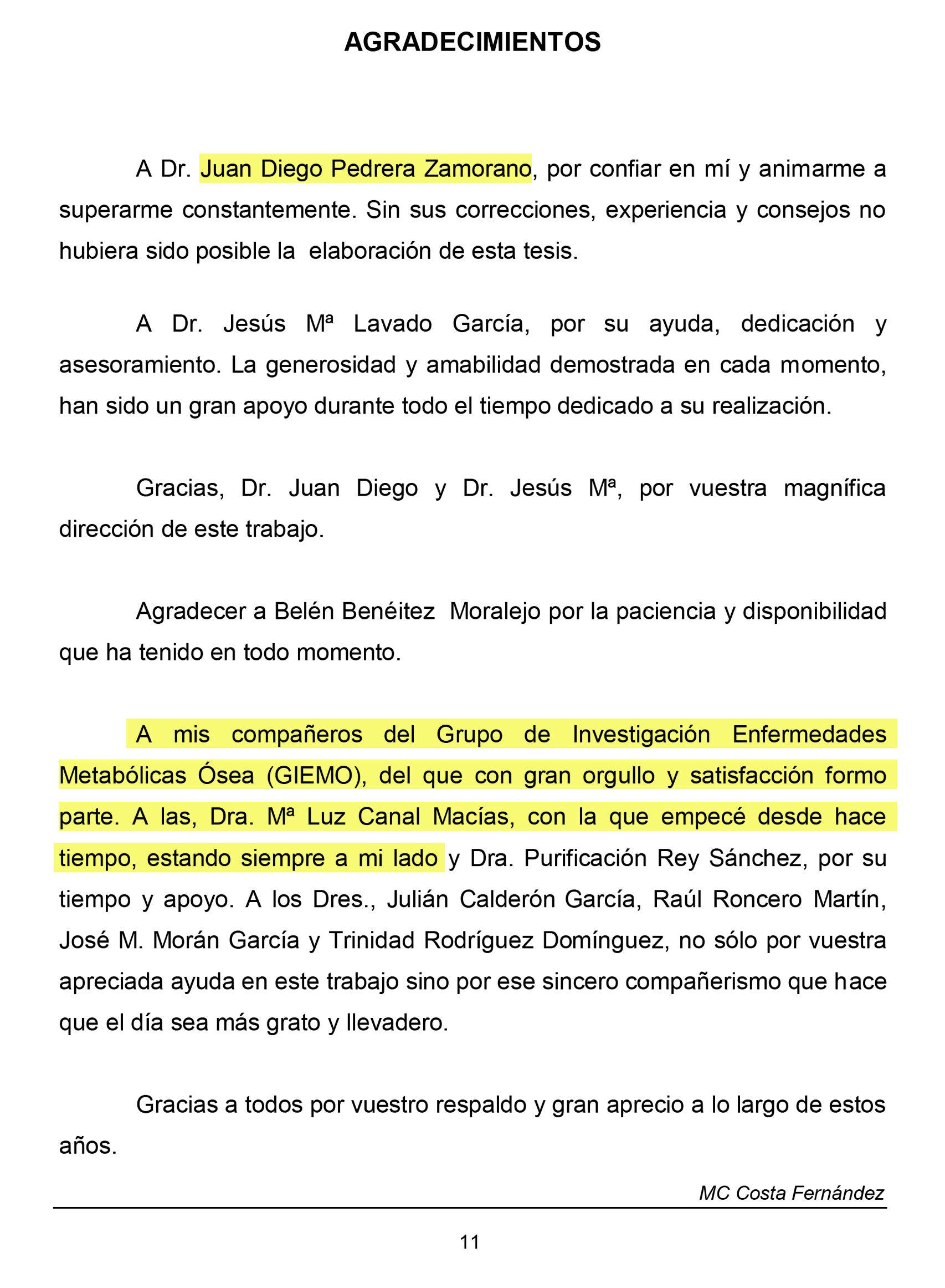 Agradecimientos en la tesis de Costa Fernández