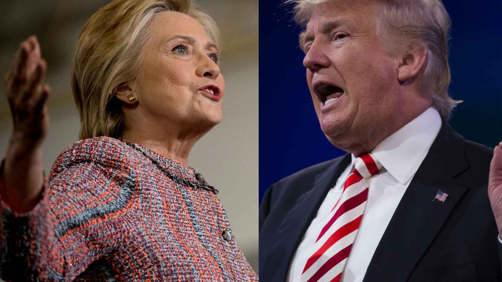 Hillary Clinton y Donald Trump, durante actos de campaña.
