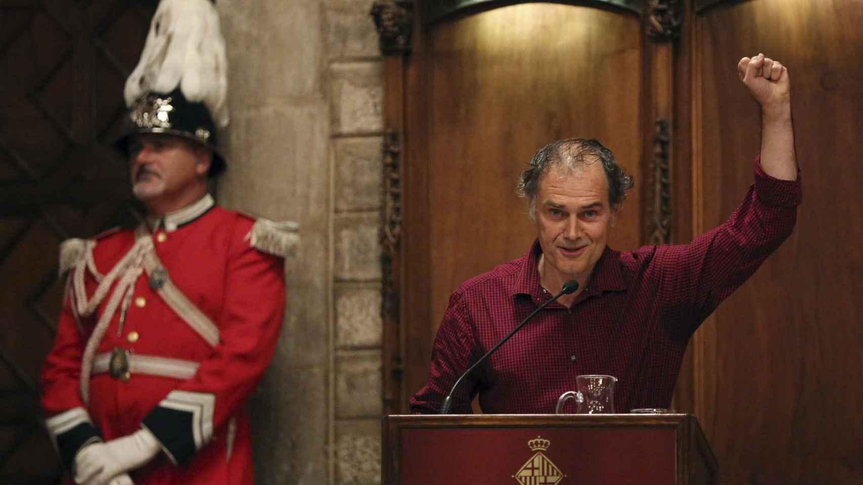 Javier Pérez Andújar durante el pregón de apertura de las fiestas de la Mercè.
