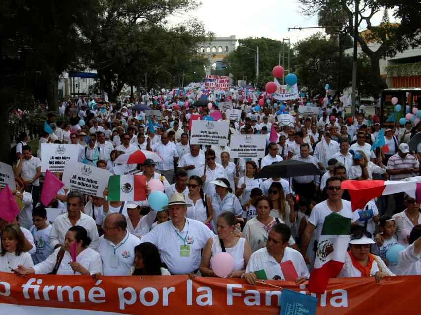 Una manifestación contra el matrimonio gay en Guadalajara, México.