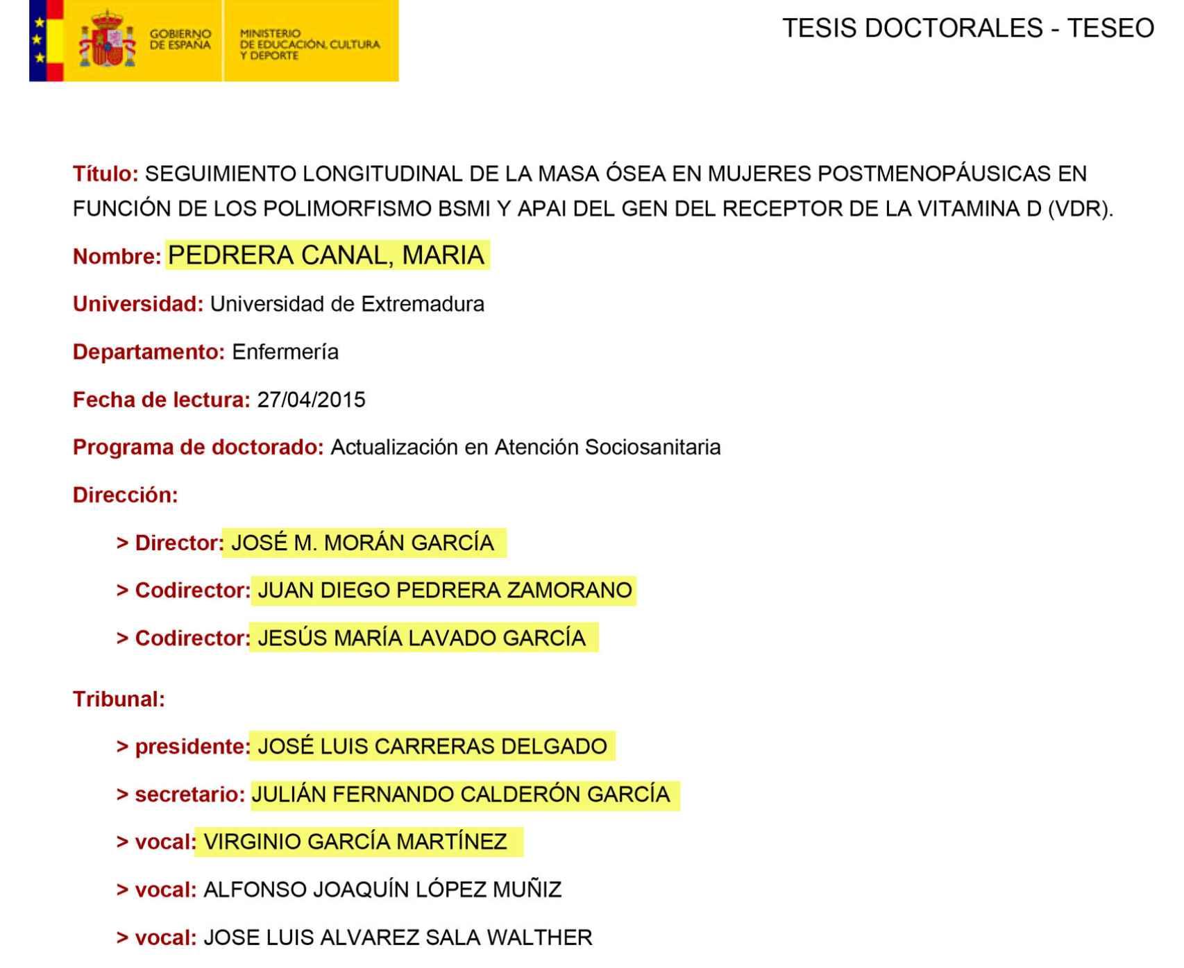 Tribunal de tesis de María Pedrera Canal, hija del asesor del rector de la Universidad de Extremadura