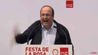 Miquel Iceta, durante su encendida intervención en la Fiesta de la rosa de Gavá (Barcelona)