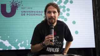 Pablo Iglesias, este domingo con una camiseta que hace referencia a Juego de Tronos.
