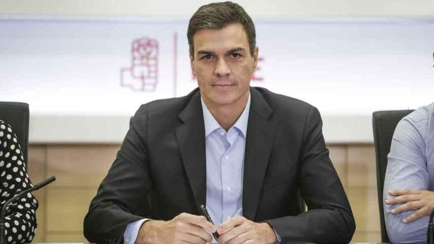 Pedro Sánchez durante la reunión de la Ejecutiva del PSOE, hoy en Ferraz