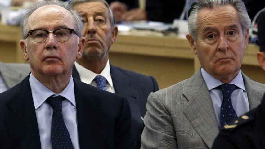 Los expresidentes de Caja Madrid y Bankia Miguel Blesa y Rodrigo Rato durante el juicio