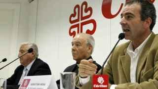 presidente y el secretario general de Cáritas Española, Rafael del Río y Sebastián Mora.