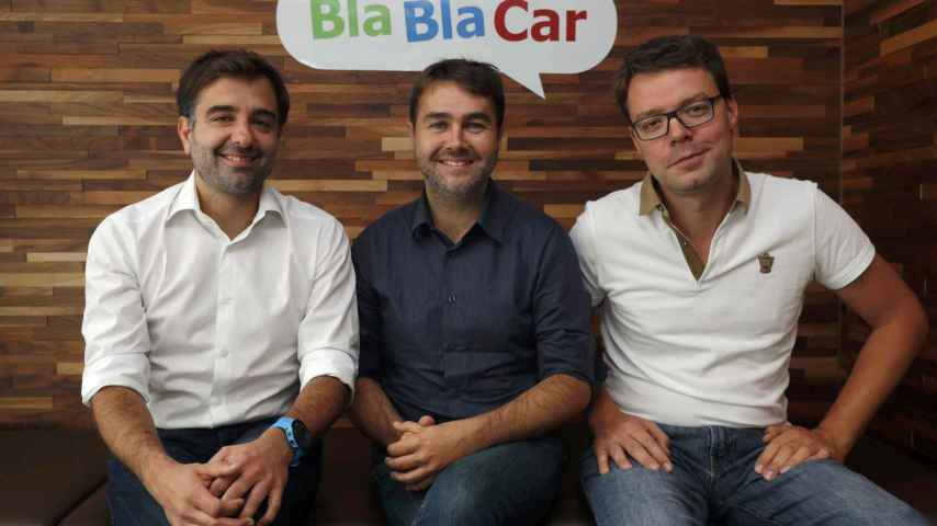 Frederic Mazzella, Nicolas Brusson, and Francis Nappez, founder and co-founders of French ride-sharing start-up Blablacar, poses at the company's headquarters in Paris