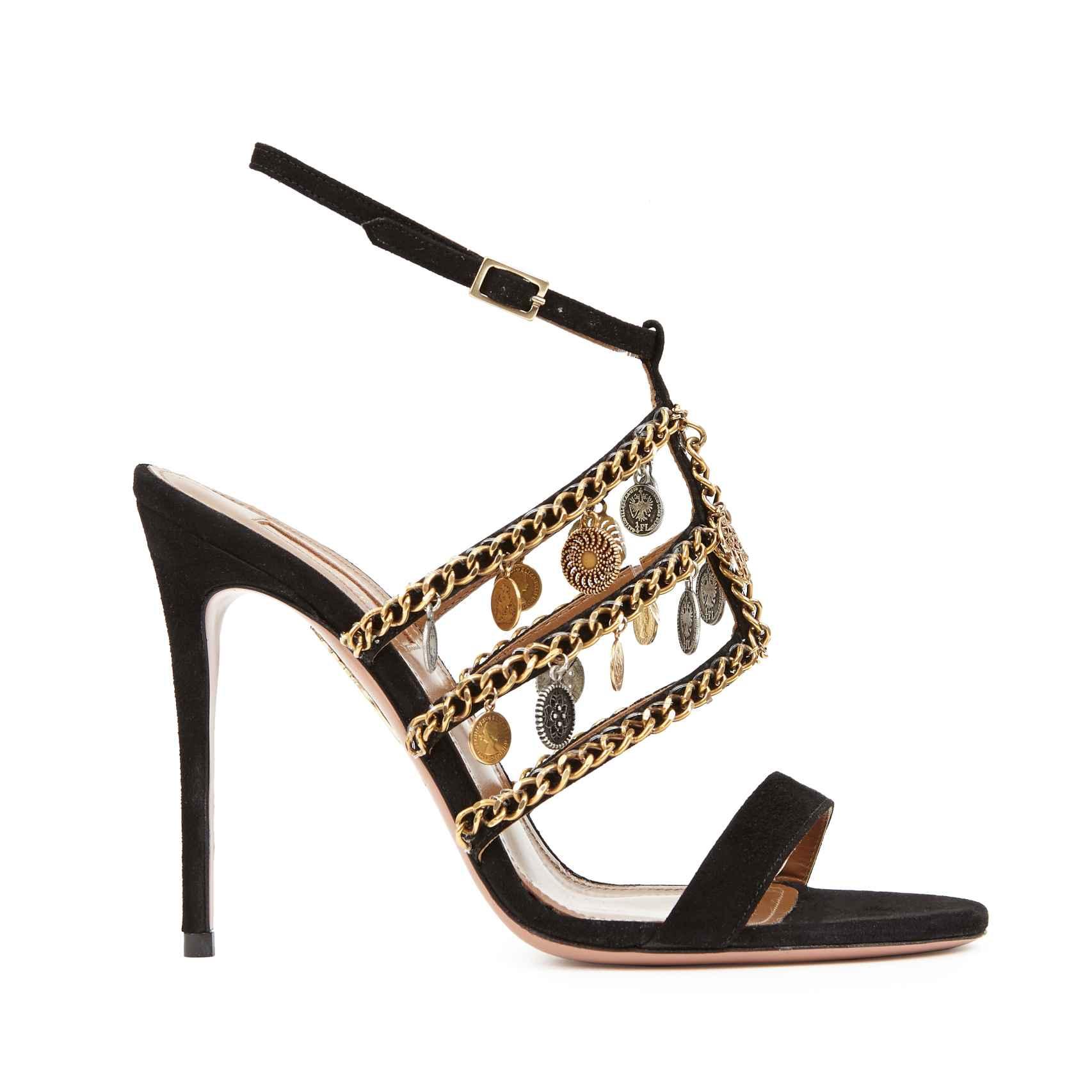 Sandalias de tacón negro con abalorios diseñador por Naty Abascal