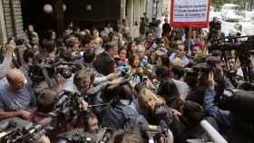 La presidenta del Comité Federal del PSOE, Verónica Pérez, ante la sede de Ferraz este jueves.