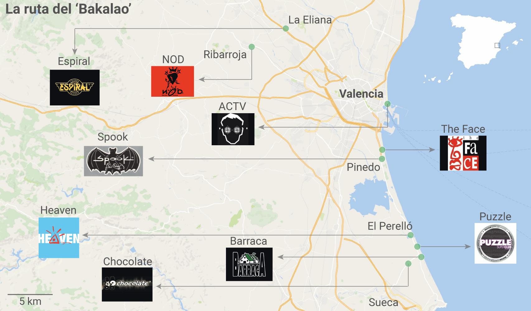 Mapa de las principales salas de la provincia de Valencia durante la época de la Ruta.