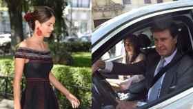 Sofía Palazuelo, llegando a la ceremonia (izqda) y Cayetano y Bárbara entrando a palacio en coche