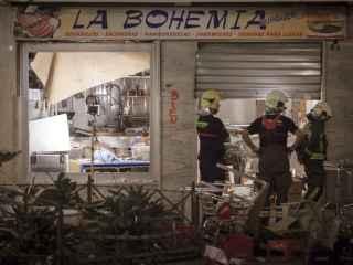 Estado del local tras la deflagración.