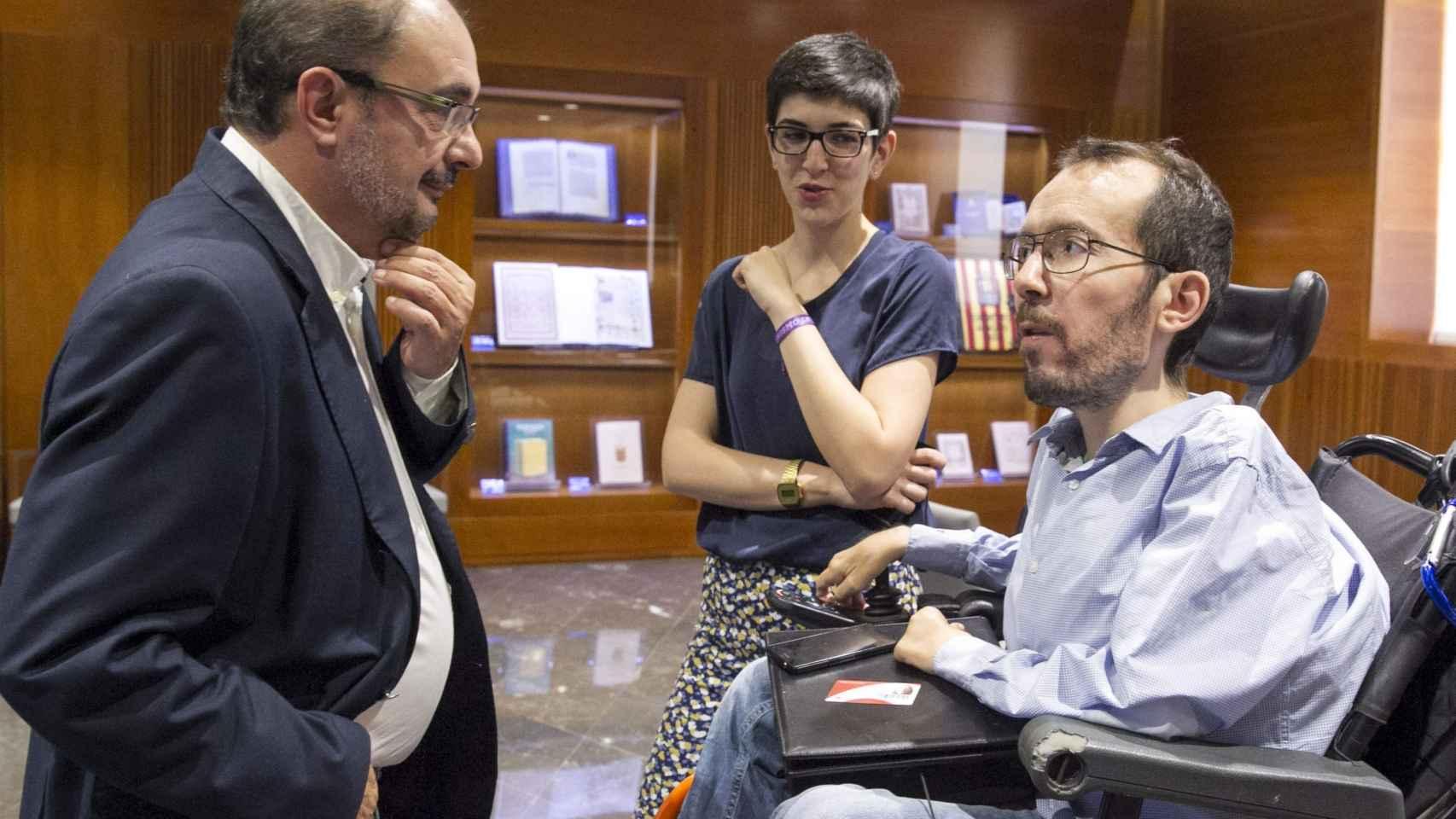 El presidente del Gobierno de Aragón, Javier Lambán, y el líder de Podemos, Pablo Echenique.