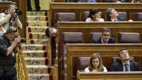 El escaño de Pedro Sánchez, vacío este martes en el Congreso