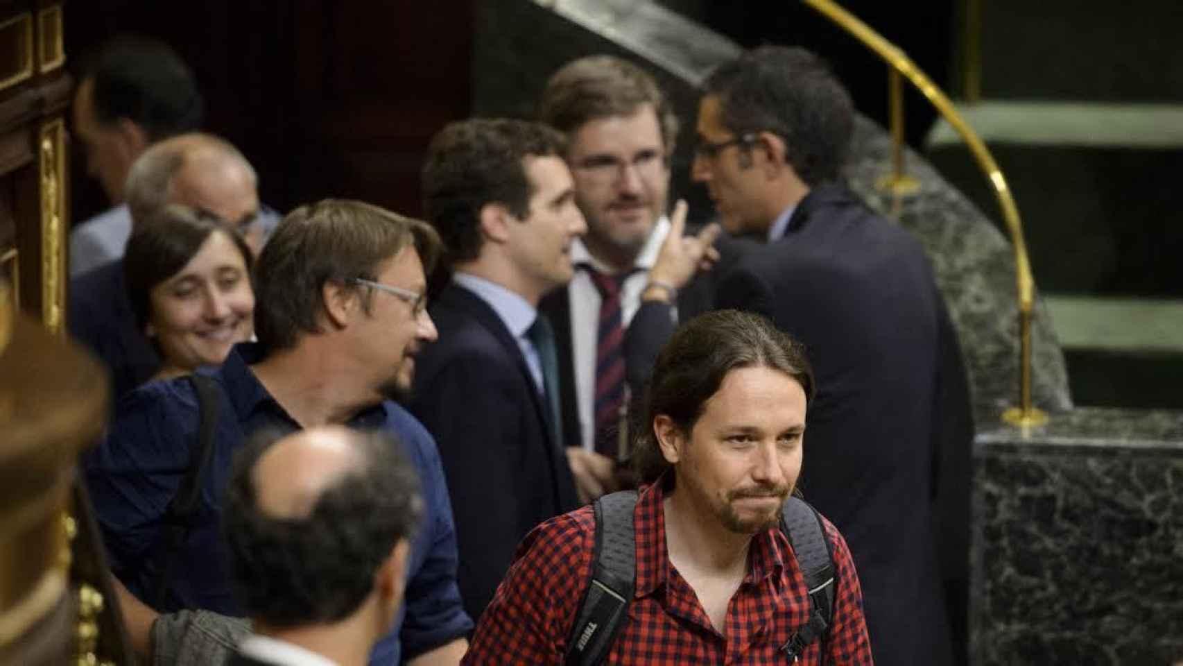 El líder de Podemos, Pablo Iglesias, este martes en el Congreso.