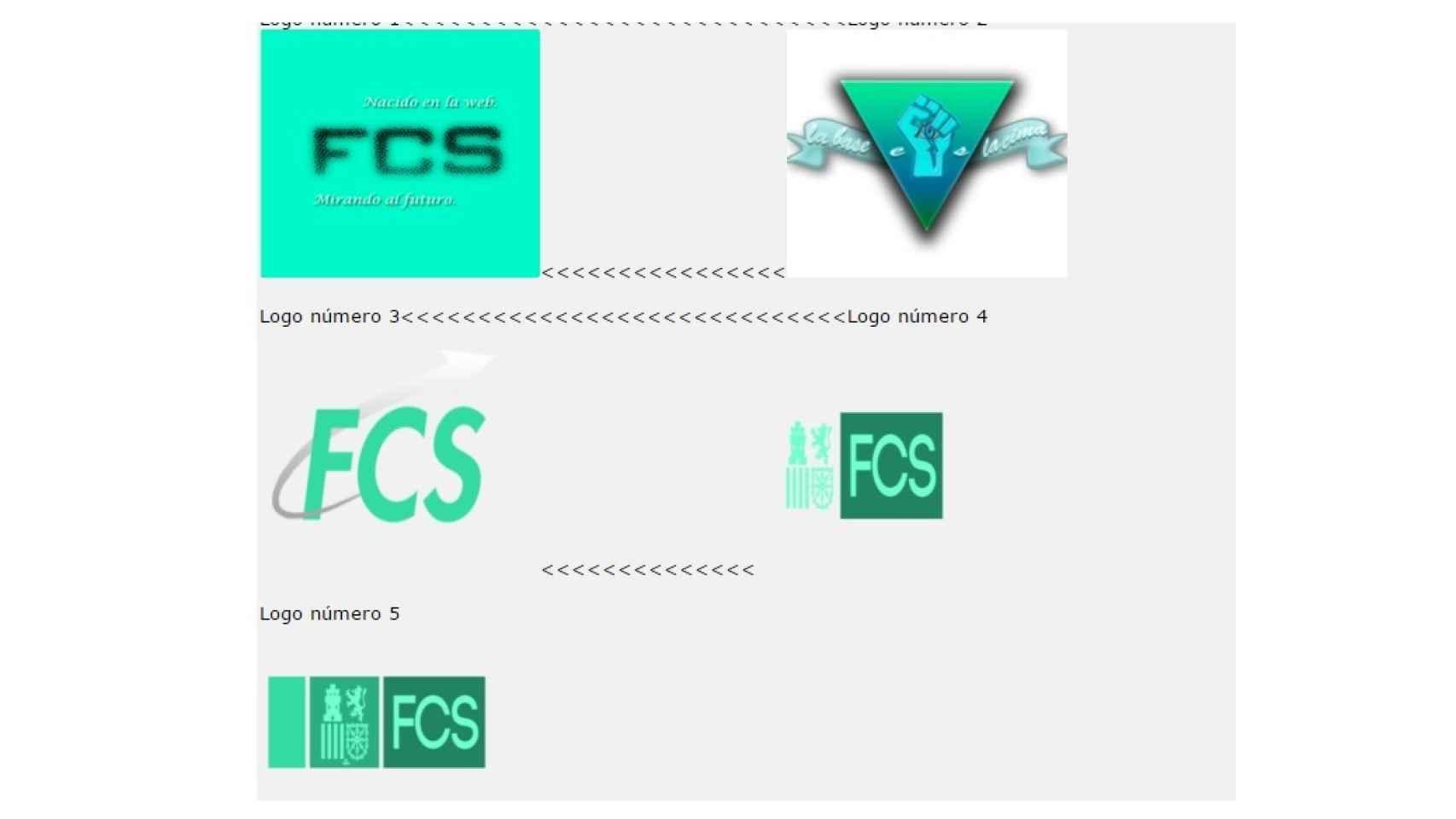 Pantallazo de las propuestas de logos previo a la desaparición del hilo.