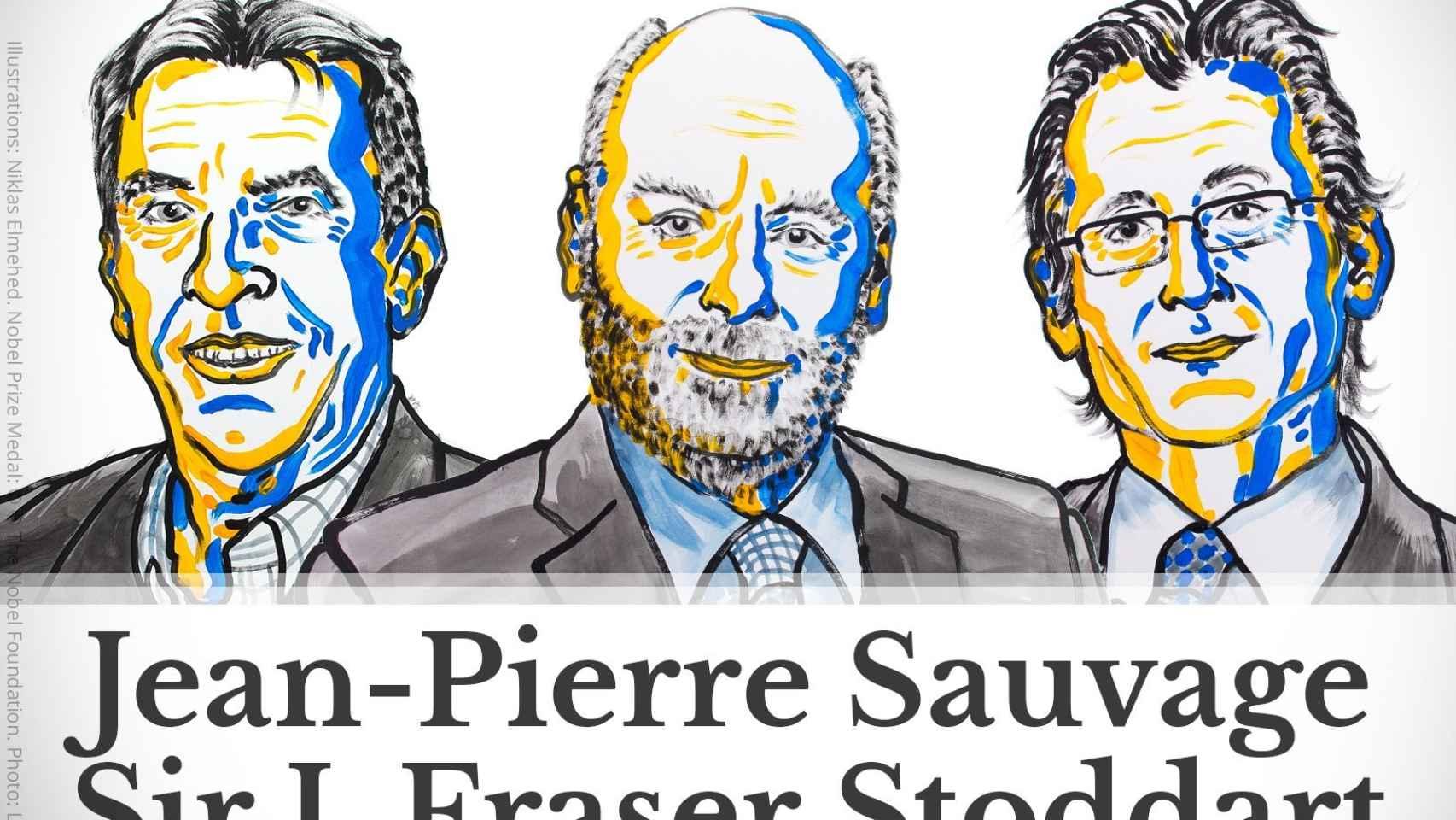 Los tres ganadores del Nobel de Química 2016.