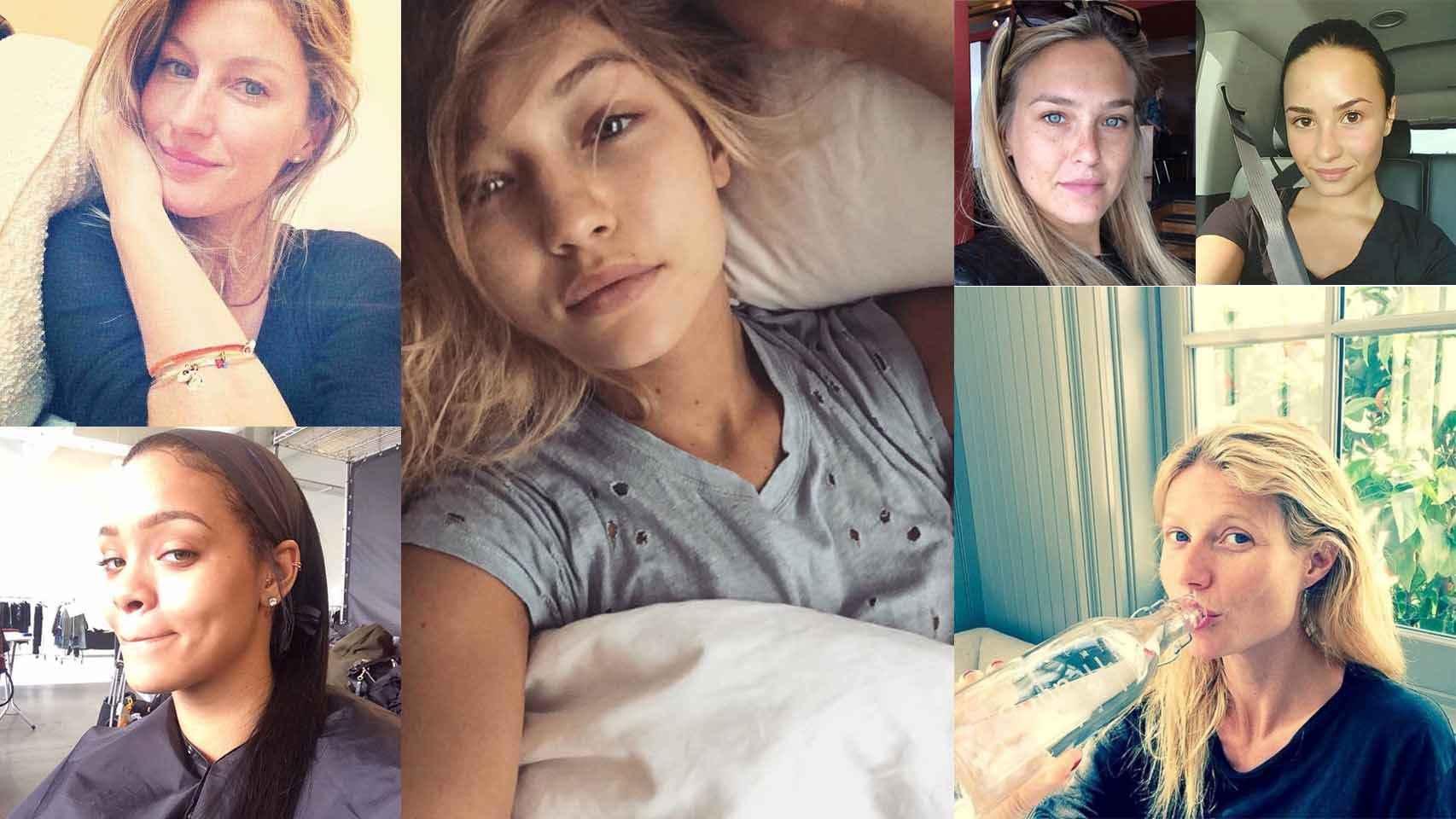 Selfies que las famosas han ido subiendo a sus redes sociales con el hashtag #nomakeup.