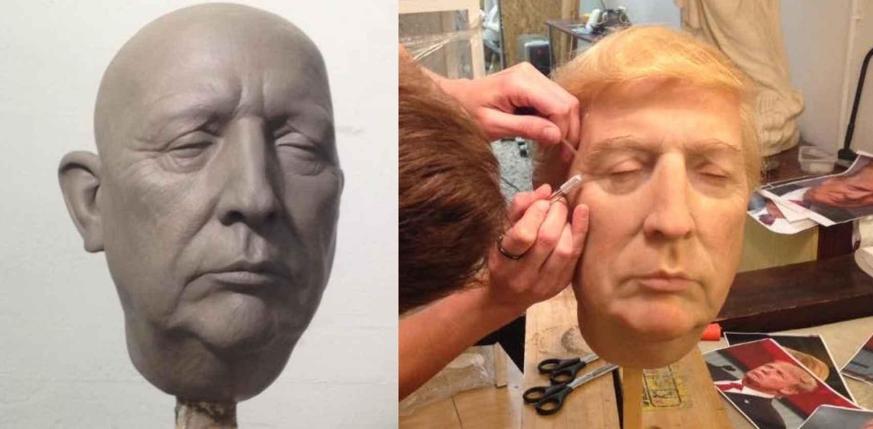 Proceso de creación del busto de Donald Trump.