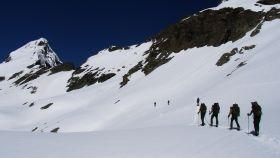 Los integrantes de la Campaña Antártica, de prácticas en Benasque.