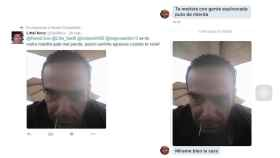 A la derecha una de las amenazas del usuario Novy al árbitro gay, a la izquierda la copia a otra usuaria.