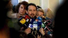 Pablo Iglesias, antes de comenzar el Consejo Ciudadano de Podemos.