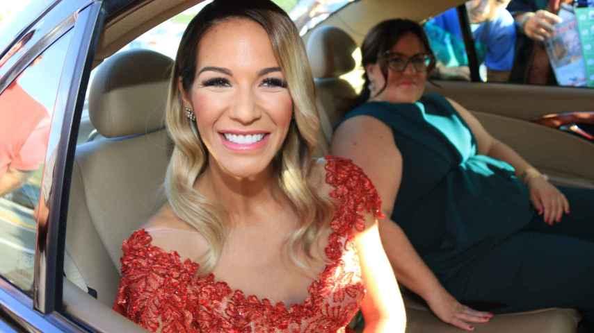 Tamara Gorro, a su llegada a la boda del hijo de Isabel Pantoja, este fin de semana.