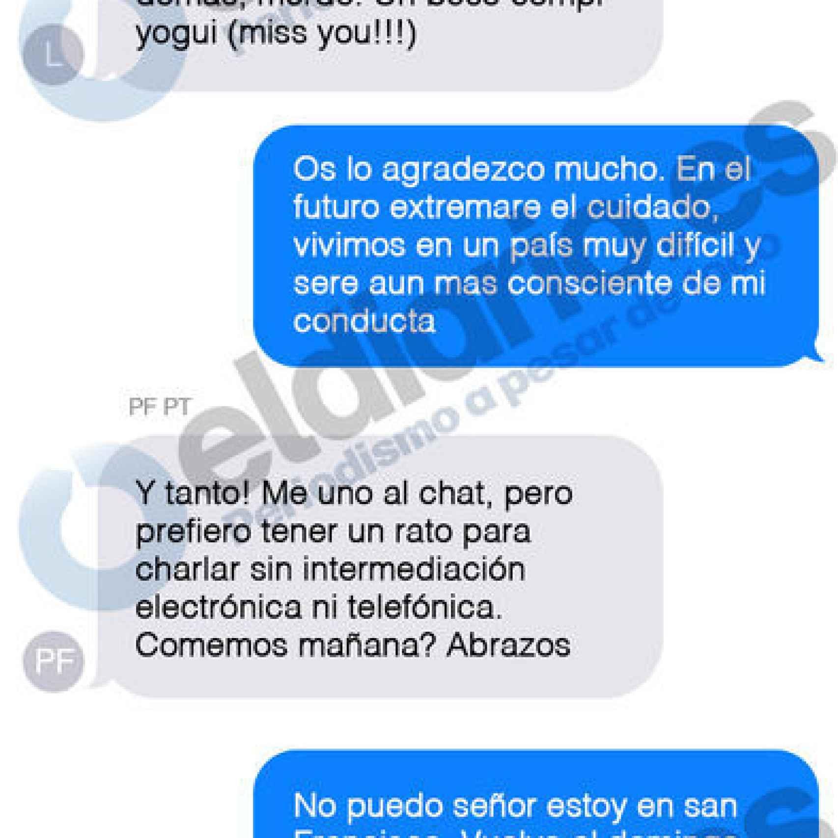 Mensajes intercambiados entre los Reyes y López Madrid.
