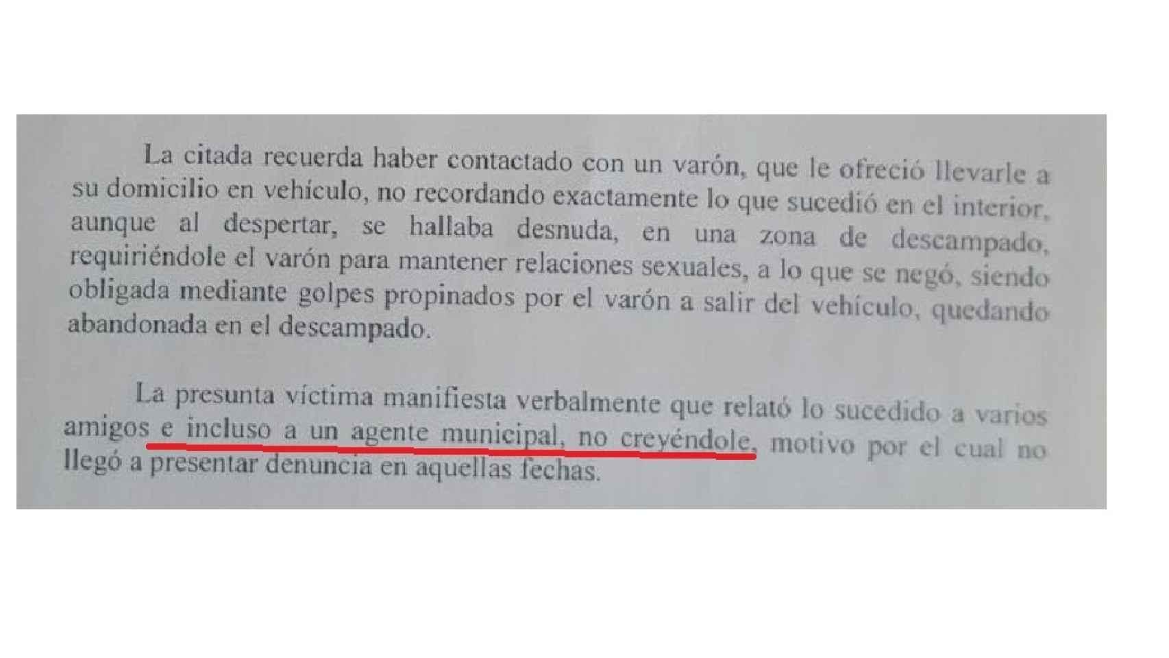 Extracto del informe de la Policía Foral.