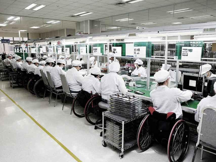 Una imagen de la cadena de producción en China.