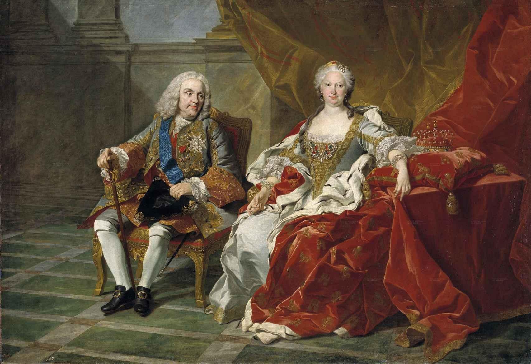 Retrato de Felipe V e Isabel de Farnesio, por Louis-Michel van Loo (c. 1743).