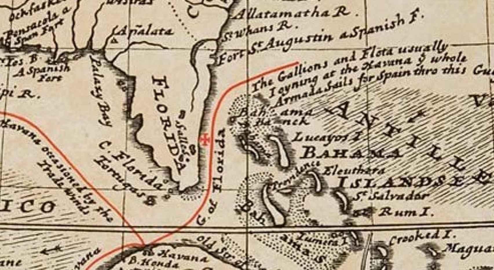 Mapa que muestra dónde se produjo el naufragio en 1715.