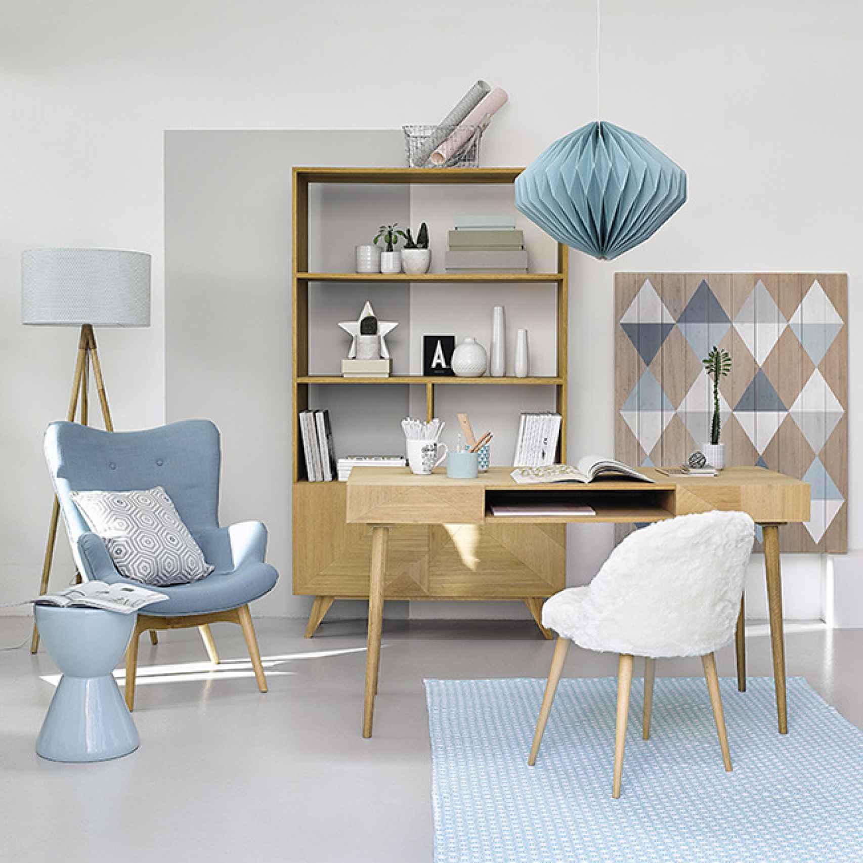 Los colores fríos, como el azul y el gris, transmiten tranquilidad. Foto: Maisons du Monde.