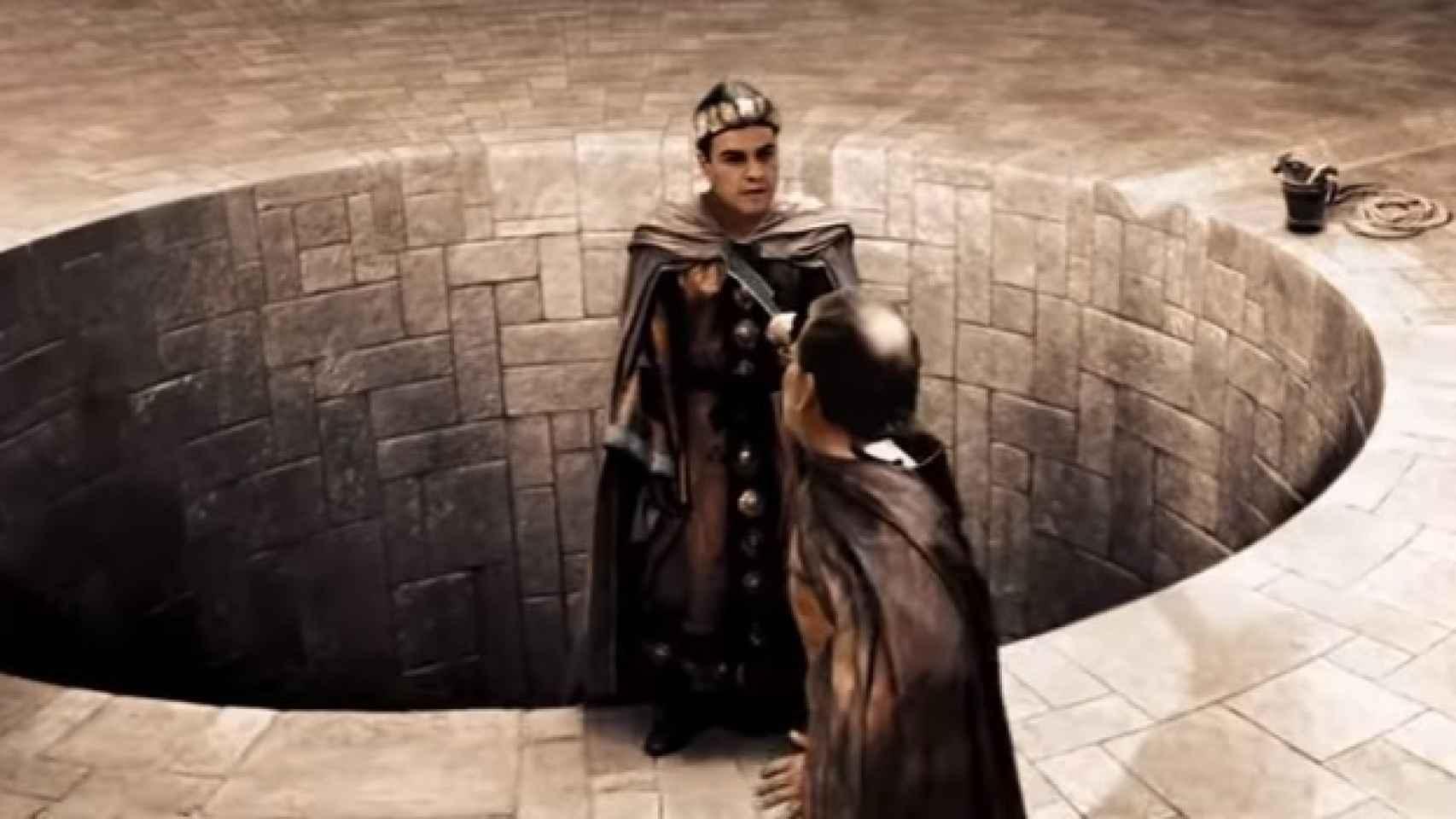 Rajoy-Leónidas apunta con su espada a un Pedro Sánchez al borde del abismo.