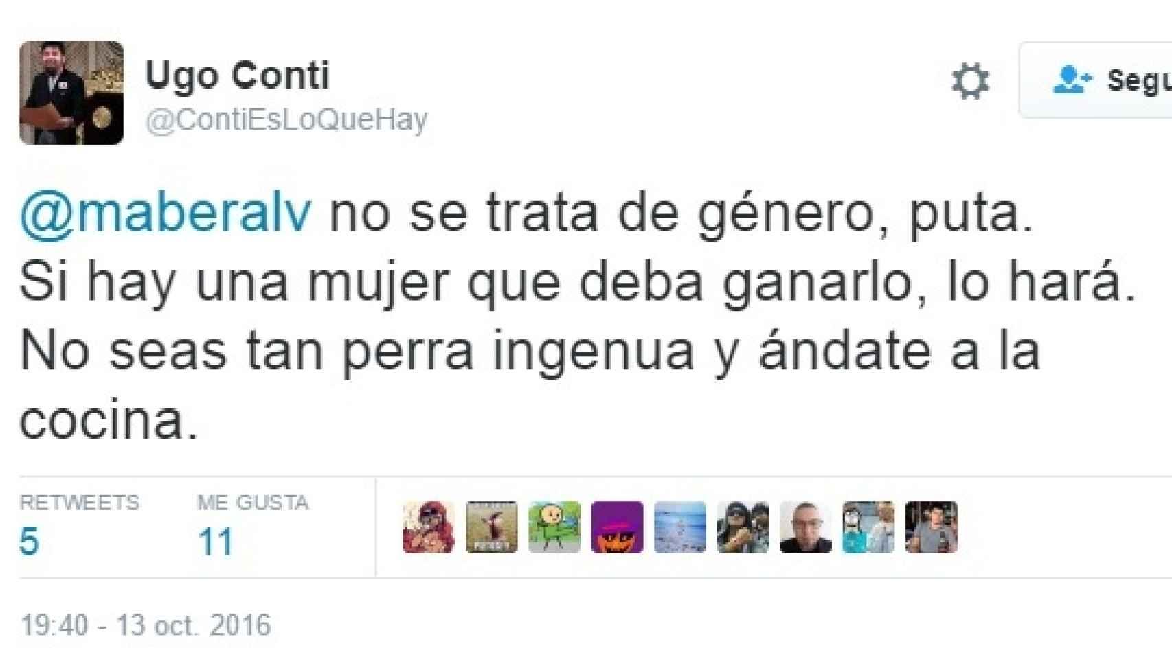 Uno de los mensajes insultantes que recibió la periodista Ángela Bernardo.