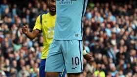 Agüero tras fallar un penalti en el City-Everton.