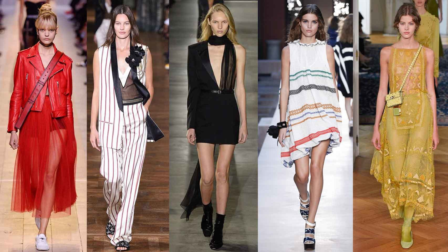 De izq. a dcha. diseños de Dior, Lanvin, Saint Laurent, Sonia Rykiel y Valentino.