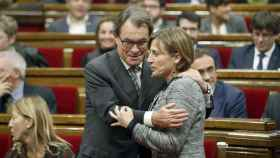 Carme Forcadell junto al ex presidente de la Generalitat Artur Mas